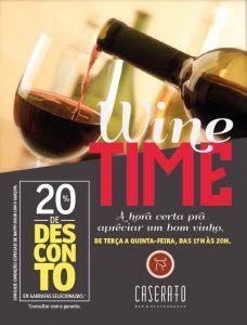 A Wine Time acontece de terça-feira a domingo, das 17 às 20 horas, no Caseratto