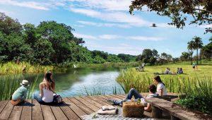 Foto 1 - Dentro do Jardins Porto, os moradores terão um parque exclusivo com dois lagos para contemplação