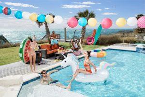 Pool Floats-$19.99-$29.99, Viewpoint Sofa-$2,999, Swing Chair-$1,019