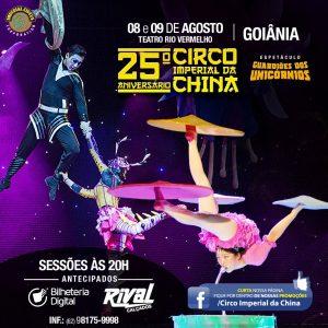 Eflyer - Circo Imperial da China - Dias 08 e 09 de Agosto, no Teatro Rio Vermelho em Goiânia.